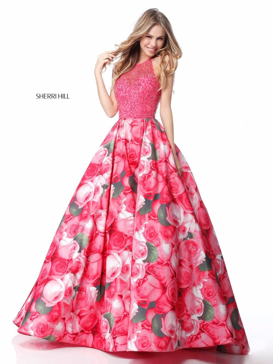 Sherri Hill 51794 Beaded Floral Prom Dress French Novelty