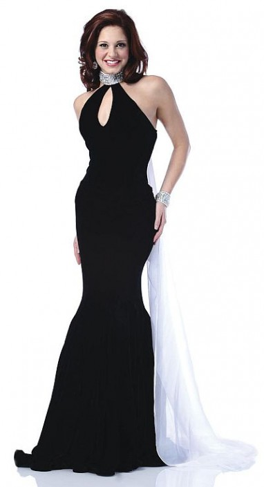 Johnathan Kayne Black and White Prom Dress with Float Train 518 ...