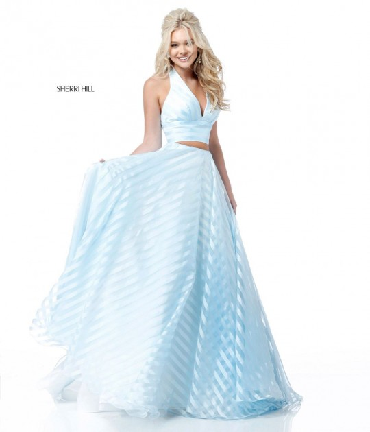 e6de10ca7e5c8 Size 12 Light Blue Sherri Hill 51804 Sheer Stripe 2 Piece Prom Dress