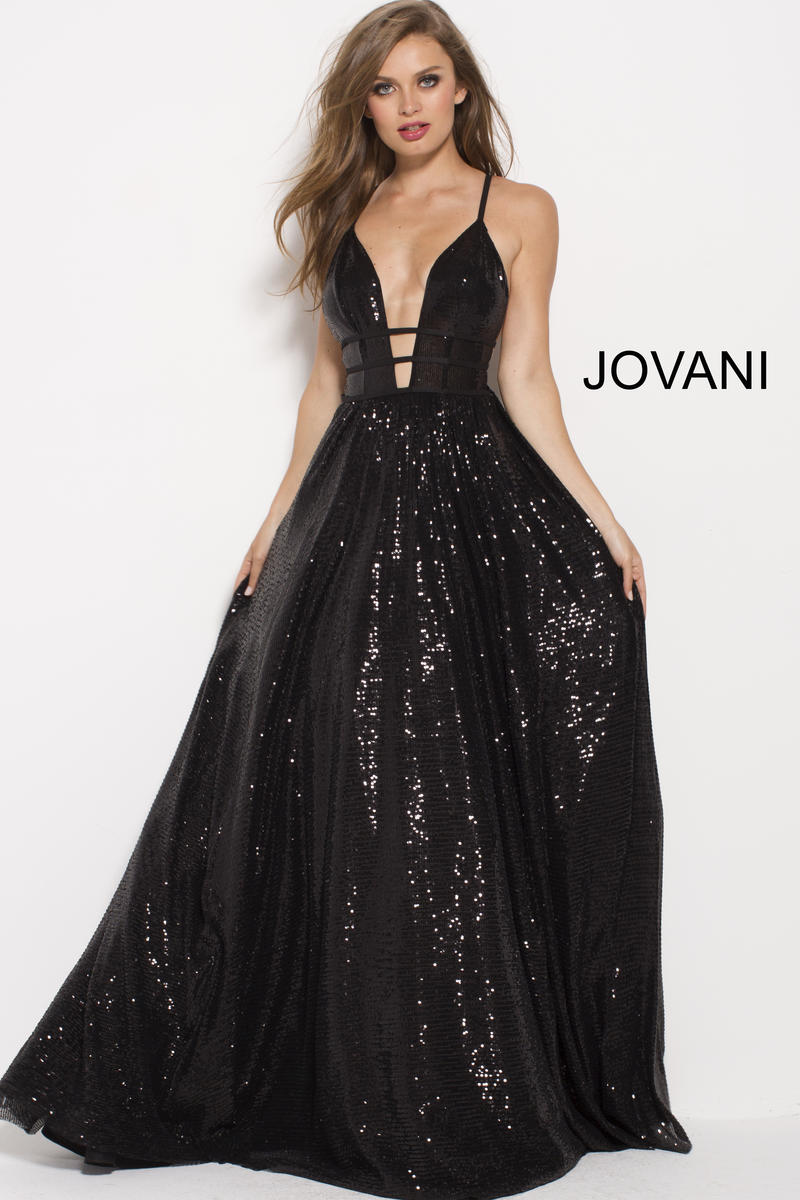 Jovani 51805 Black Sequin Cutout Gown French Novelty