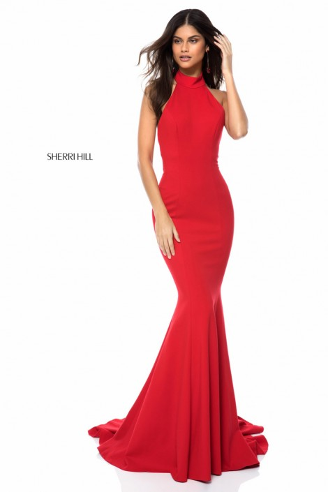 Sherri Hill 51808 Low Cut Halter Prom Dress: French Novelty