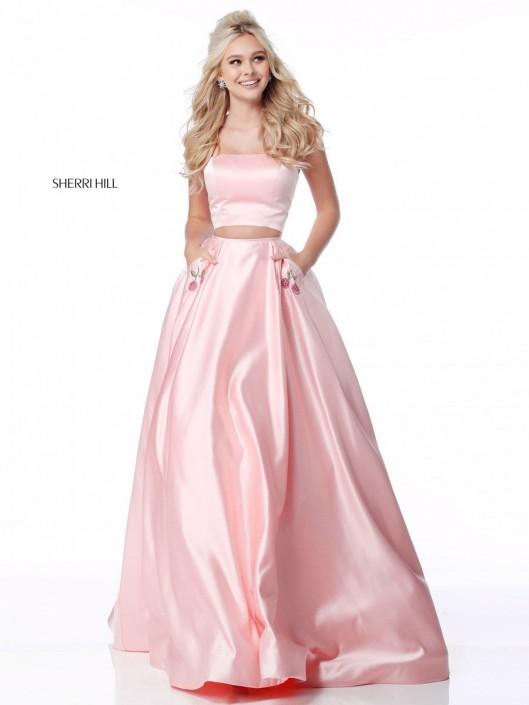 Sherri Hill 51813 Flower Pocket 2 Piece Prom Dress French Novelty