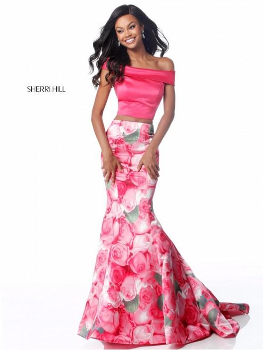 Size 4 Pink Print Sherri Hill 51849 Off Shoulder 2pc Floral Prom ...