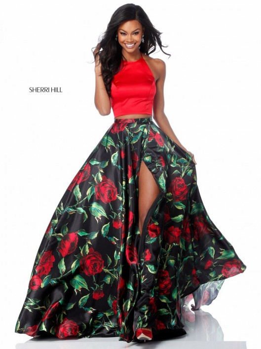 Size 2 Red-Black Print Sherri Hill 51870 Floral 2 Piece Prom Dress ...