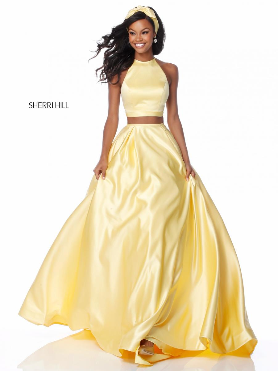 1c003924d83 Size 2 Yellow Sherri Hill 51883 Two Pc Prom Dress with Pockets  French  Novelty