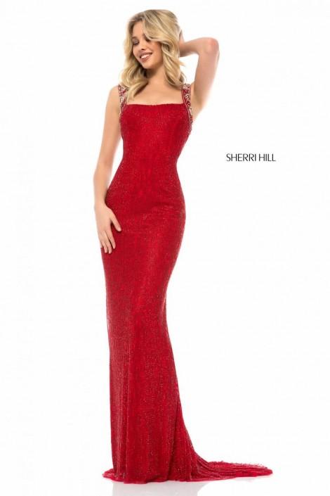 5bcf1dfa Sherri Hill 51950 Beaded Wide Strap Prom Dress: French Novelty