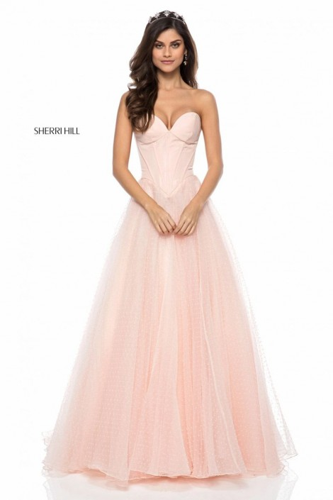 Sherri Hill 51980 Ribbed Corset Prom Gown: French Novelty