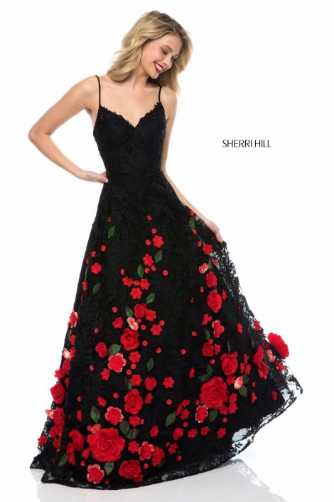 Sherri Hill 51993 Prom Dress with 3-D Roses: French Novelty