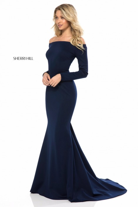 Sherri Hill 52041 Long Sleeve Off Shoulder Gown: French Novelty