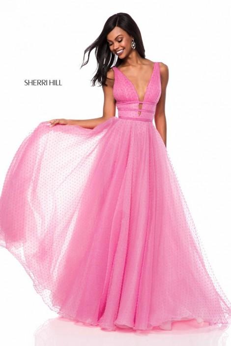 Sherri Hill 52058 Sheer Dot Prom Dress: French Novelty