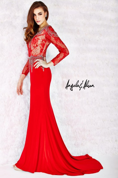 Angela and Alison 52061 Long Sleeve Sheer Lace Gown: French Novelty