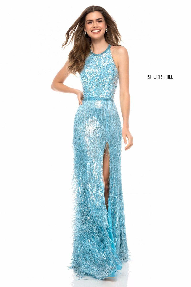 Sherri Hill 52067 Sequin Fringe Prom Gown: French Novelty
