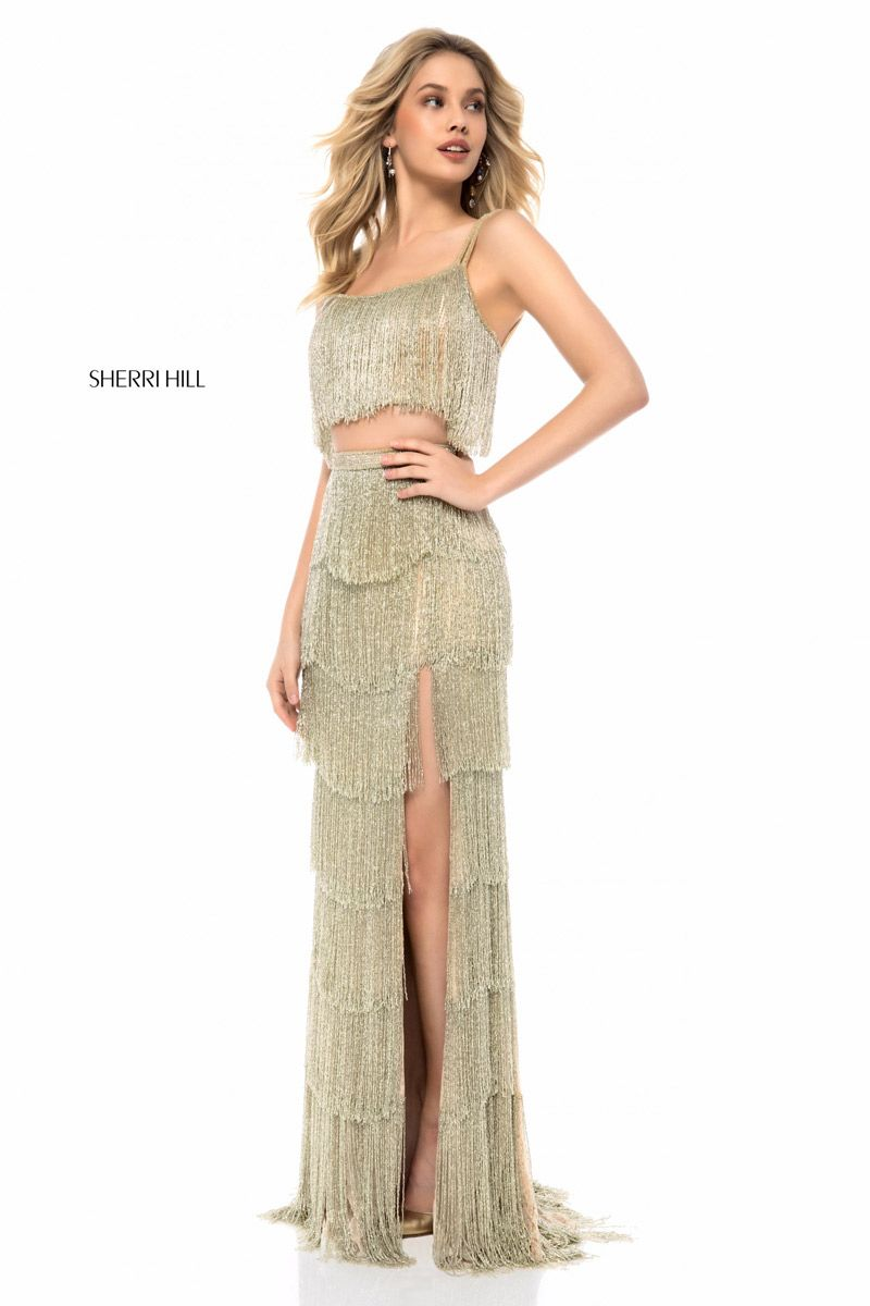 Sherri Hill 52081 Tiered Fringe 2 Piece Prom Dress French
