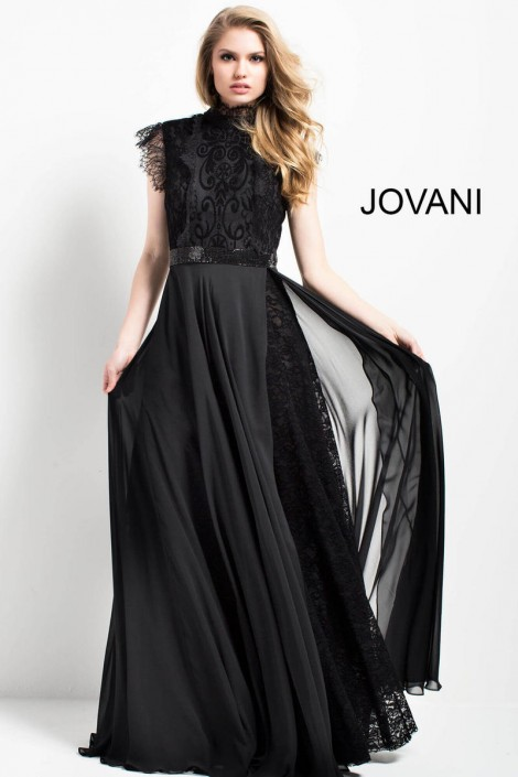 48c3151bb74 Jovani 52089 High Neck Gown with Lace Bodice  French Novelty