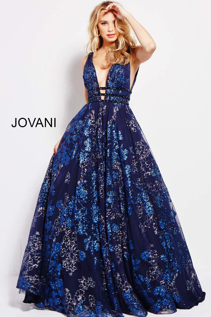 Jovani 52143 Glitter Plunging Ball Gown French Novelty