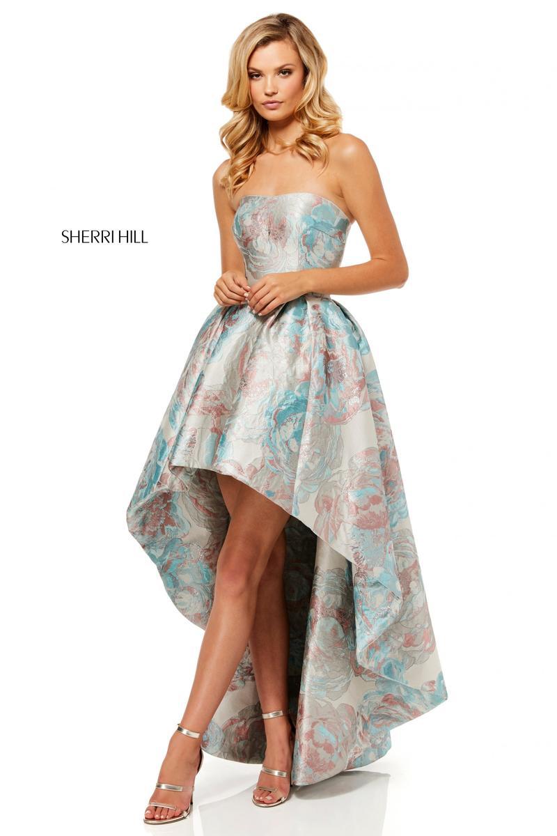 Sherri Hill 52489 One Shoulder High Low Floral Prom Dress