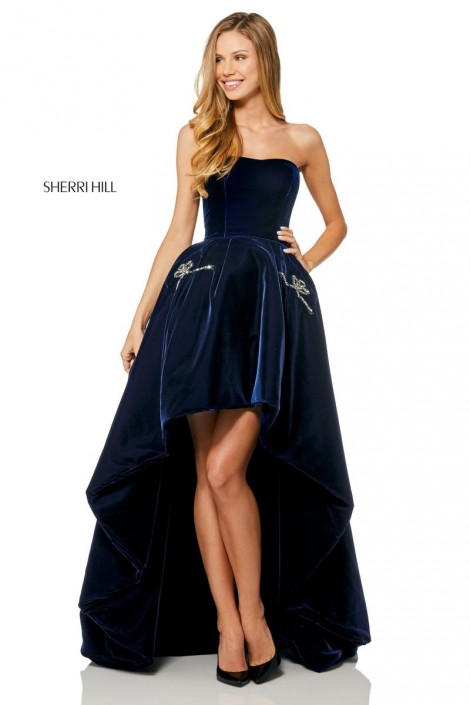 213e1fb2917 Sherri Hill 52144 High Low Prom Dress with Pockets  French Novelty