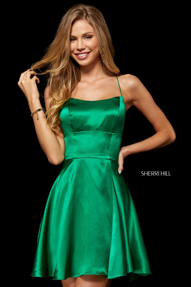 d069545a878 Size 2 Emerald Sherri Hill 52156 Short Silk Charmeuse Party Dress  French  Novelty