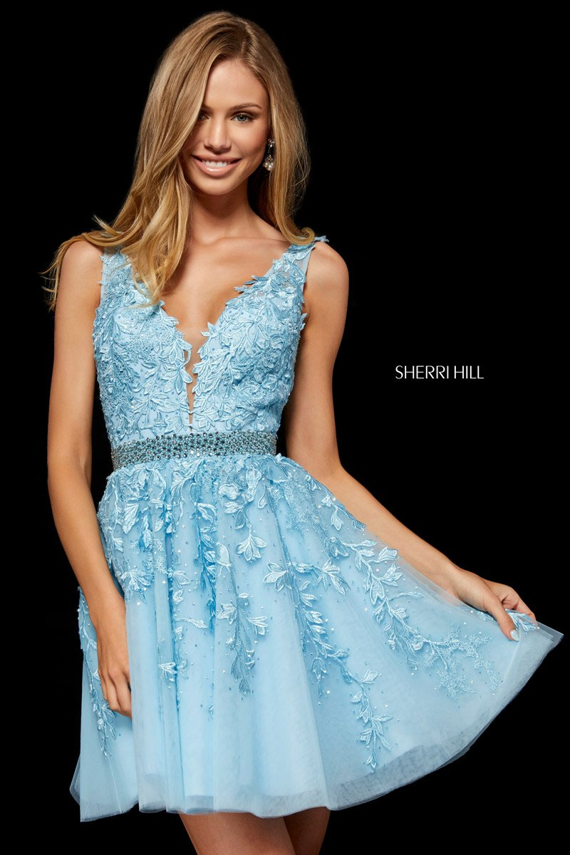 Sherri Hill 52157 Lace Tulle Short Party Dress French Novelty