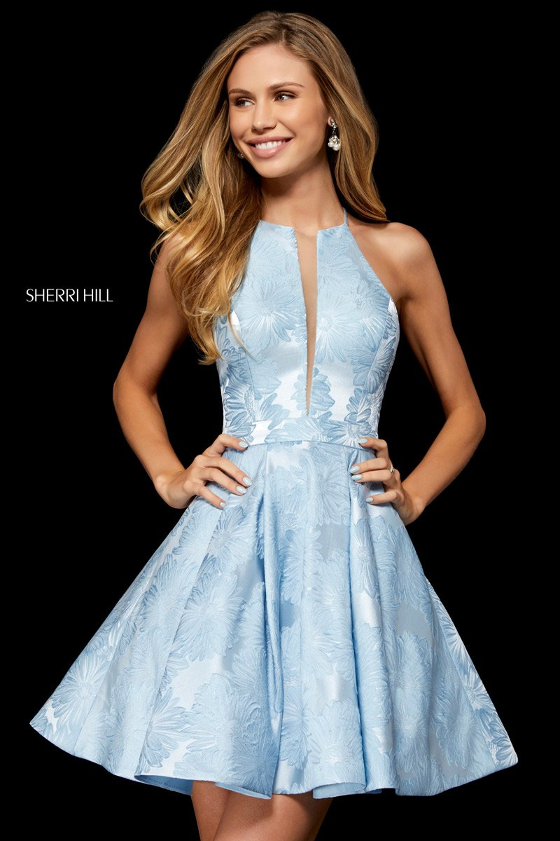 1b1badd09f Sherri Hill 52178 Mesh Sides Short Brocade Dress  French Novelty
