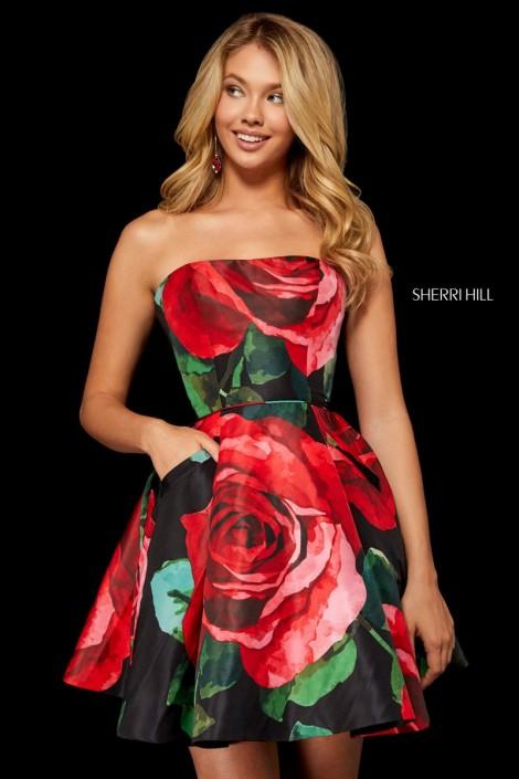 be6b16d3b03 Sherri Hill 52267 Rose Print Short Taffeta Dress  French Novelty