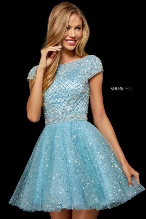bfc0e4c2 Sherri Hill 52273 Short Sleeve Sequin Tulle Dress: French Novelty