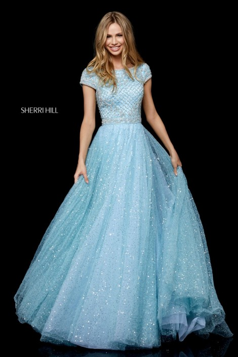 ec3e8cab Sherri Hill 52276 Short Sleeve Sequin Tulle Gown: French Novelty