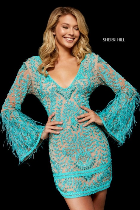3b49d00224378d Sherri Hill 52307 Beaded Bell Sleeve Dress with Feathers: French Novelty