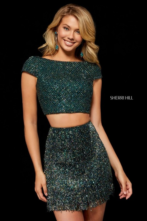 c83e50cffc2 Sherri Hill 52317 Fringe Beaded 2 Piece Dress  French Novelty