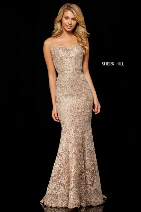 Size 2 Rose Gold-Silver Sherri Hill 52348 Metallic Lace Mermaid Gown ...