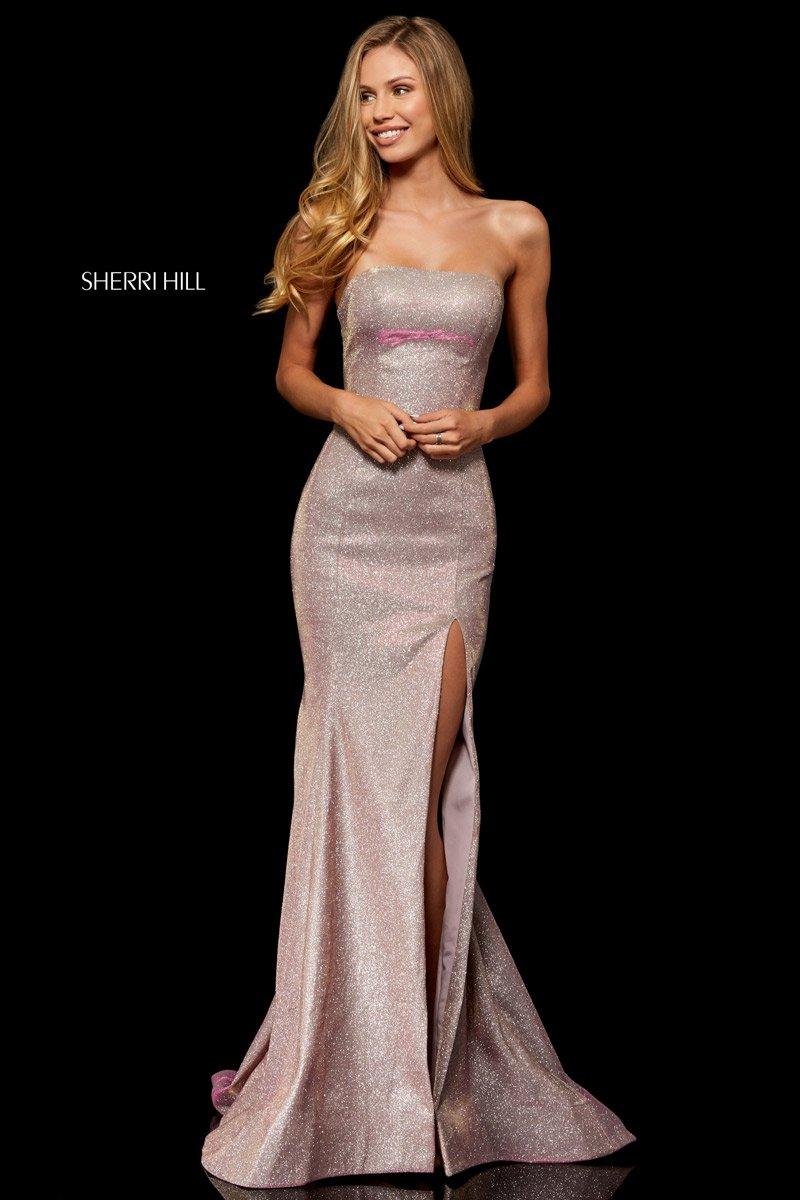 Sherri Hill 52362 Glitter Stretch High Slit Gown French