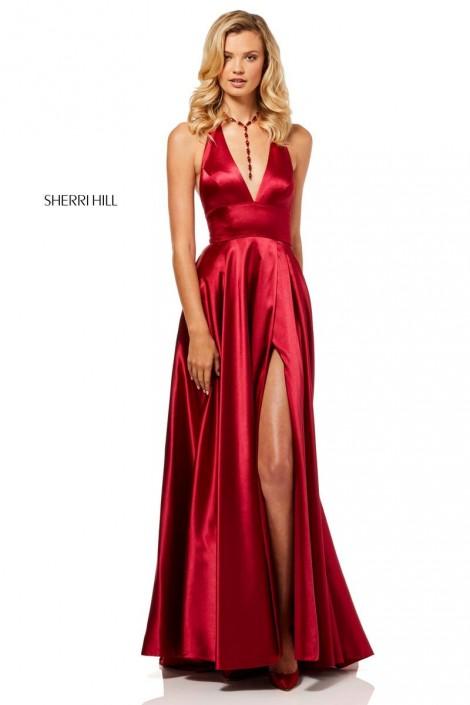 008cea43e7 Sherri Hill 52408 Deep V Halter Prom Dress  French Novelty