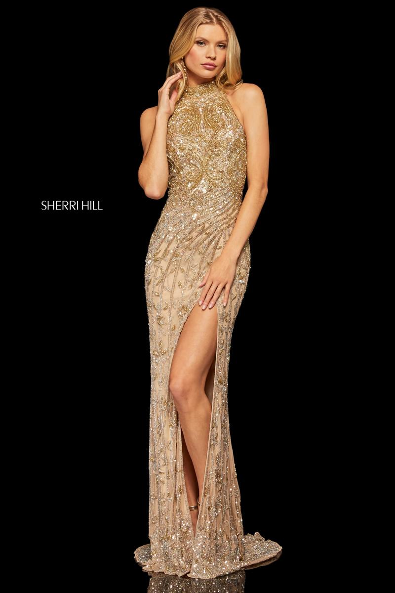 Sherri Hill 52426 High Neck Beaded Prom Gown French Novelty