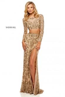 af3f5e77b8 Sherri Hill 52459 Long Sleeve 2 Piece Beaded Gown