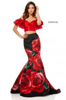 9424e09b39 Sherri Hill 52470 Ruffle 2 Piece Rose Print Prom Dress