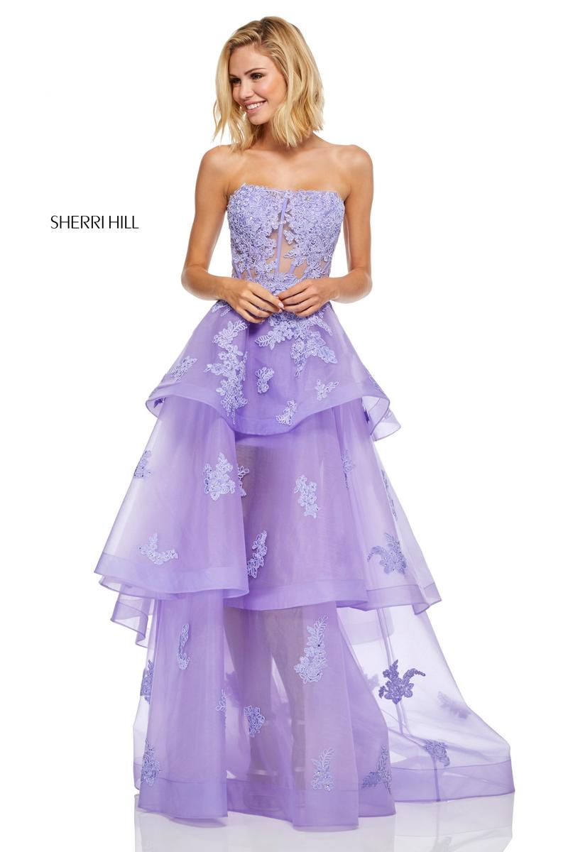 Sherri Hill 52158 Floral High Low Prom Dress: French Novelty