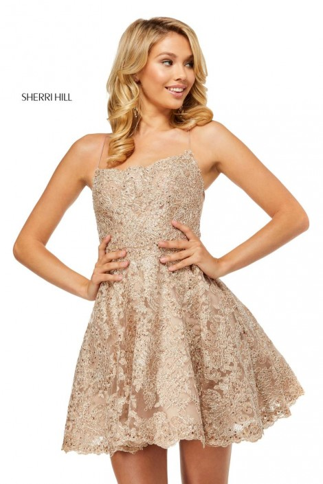 Sherri Hill 52512 Short Lace Prom Dress French Novelty