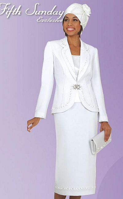 Fifth Sunday By Ben Marc Womens White Church Suit 52527 French Novelty