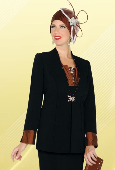 Fifth Sunday By Ben Marc Womens 3pc Black Church Suit 52558 French