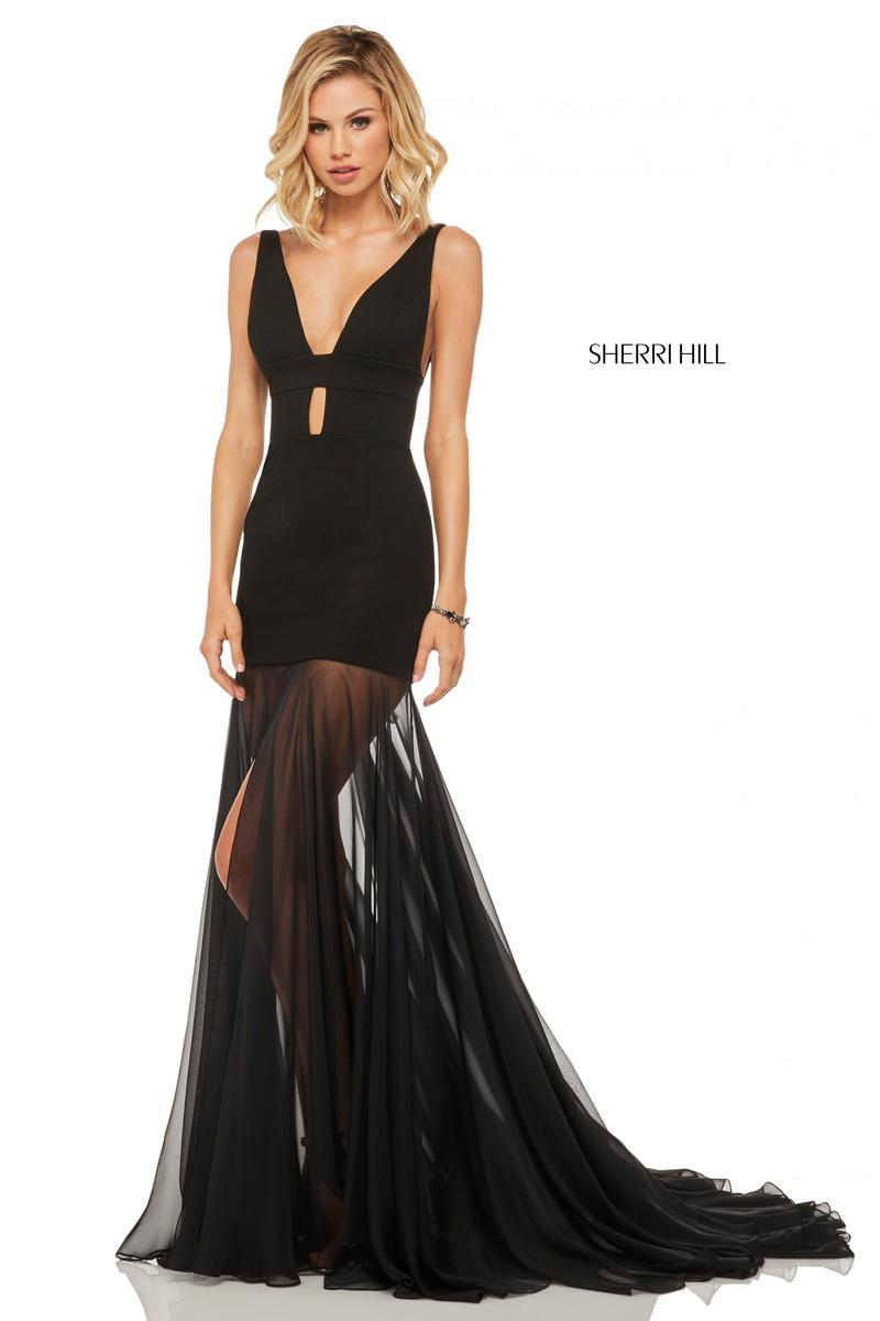 b920b25ac1 Sherri Hill 52606 Sexy Gown with Sheer Skirt  French Novelty