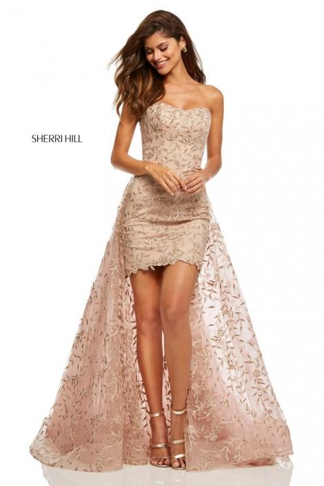 e4e589c97a Sherri Hill 52648 Short Dress with Removable Sheer Overskirt