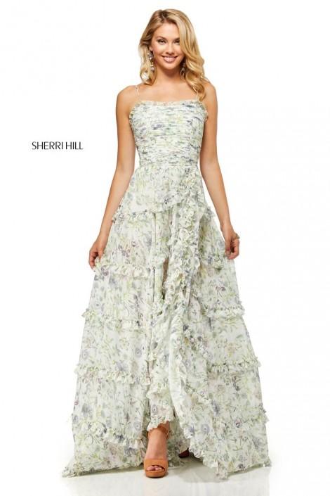 7a3f18e78be Sherri Hill 52665 Prairie Floral Ruffle Prom Dress  French Novelty