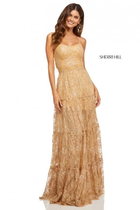 e61825100bb Sherri Hill 52675 Gold Lace Prom Dress  French Novelty