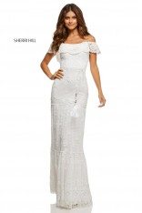 9e675247b97 Size 2 Ivory Sherri Hill 52688 Off Shoulder Lace Ruffle Prom Dress