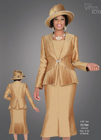 Benmarc Fifth Sunday 52700 Womens Gold Church Suit French Novelty
