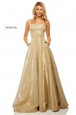 08d807ef6bc Size 14 Gold Sherri Hill 52716 Metallic A-Line Prom Dress