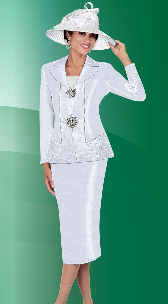Ben Marc Fifth Sunday 52750 Womens White Church Suit French Novelty