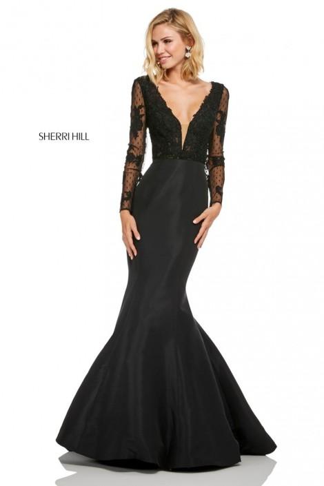 9da6b8c1b6c Sherri Hill 52766 Sheer Long Sleeve Mermaid Dress  French Novelty