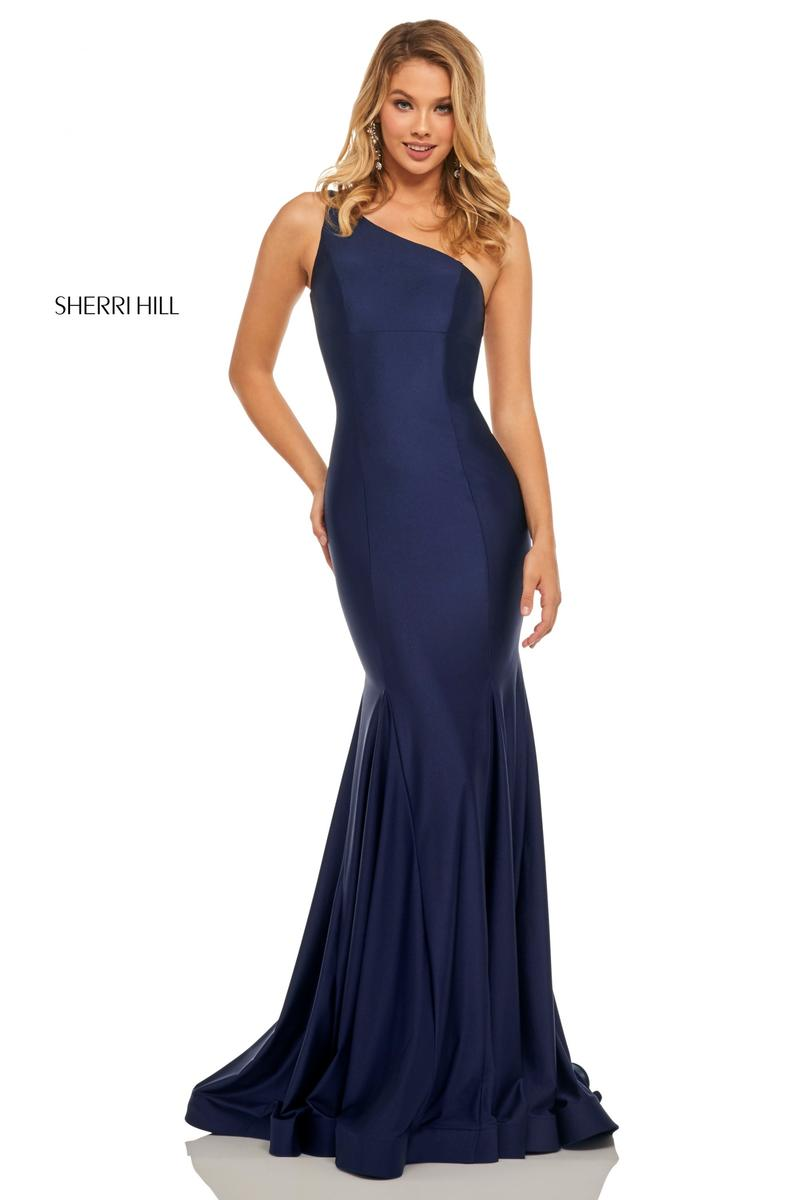 2a6eb55877f116 Sherri Hill 52781 One Shoulder Cut Out Back Prom Dress  French Novelty