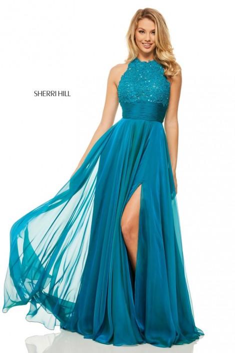 Teal Halter Prom Dresses